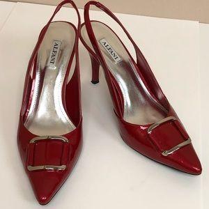 Alfani red patent leather sling backs EUC 9